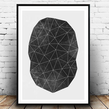 Triangles print, Black and white print, Watercolor art, Geometric decor, Abstract watercolor, Minimalist poster, Nordic design, Abstract art