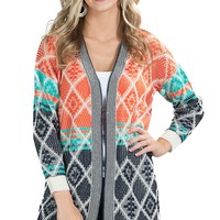 Flying Tomato Women's Orange and Navy Aztec Open Front Long Sweater