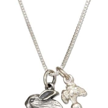 "Sterling Silver 18"" Carrot And Bunny Rabbit Pendant Necklace"