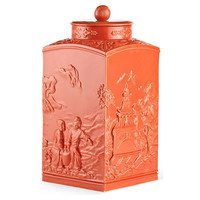 """17"""" Astor Chinoiserie Jar, Coral, Jars, Canisters, Tins & Bottles"""