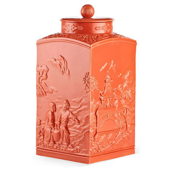 "17"" Astor Chinoiserie Jar, Coral, Jars, Canisters, Tins & Bottles"