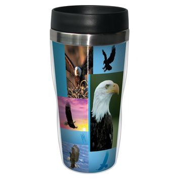 Eagle Collage Travel Mug - Premium 16 oz Stainless Lined w/ No Spill Lid