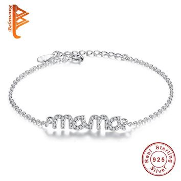 """BELAWANG Simple Design 925 Sterling Silver Bracelet Austrian Crystal """"Mama"""" Charm Bracelet Jewelry Gift For """"Mother's Day"""""""