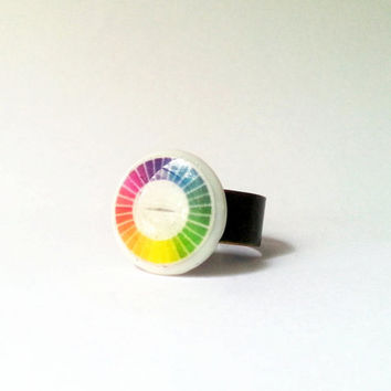 Color Wheel Ring, Rainbow Ring, Artist Jewelry, Color Palette Ring, Rainbow Resin Ring, Painter Ring, Designer Ring, Colors of the Rainbow