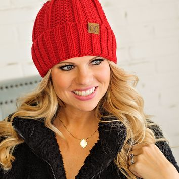 * Fur Lined C.C. Cable Knit Pom Beanie - Red
