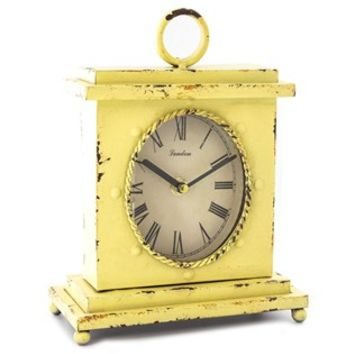 Antique Yellow Square Metal Clock with Top Loop | Shop Hobby Lobby