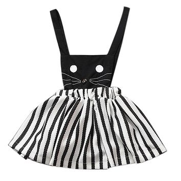 Summer Cute Girl Dress  Infant Toddler Cat Printed Suspenders Stripe Baby Costumes Kids Set Children Clothing