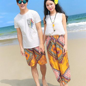 New Boho Chiffon Pants Family matching clothes Dad and son's T-shirt+shorts Mom and daughter trousers