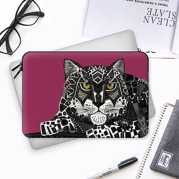 snow leopard pink Macbook Pro 13 sleeve by Sharon Turner | Casetify