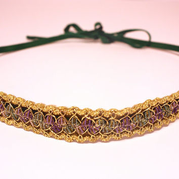 Glitter headband. Lurex headband. Woven headband. Gold headband. Embellished headband. Gift for her. Boho Bohemian headband. Winter Wedding.