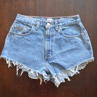Vintage CALVIN KLEIN 90s High Waisted Denim Shorts Jean Shorts Cut Offs Frayed Grunge Tattered Shorts