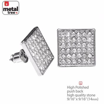 Jewelry Kay style Men's Hip Hop Iced Out Silver XL Square Micro Pave AAA CZ Stud Earrings TE 520 S