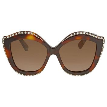 Gucci Swarovski Clear Crystal Trim Brown Cat Eye Ladies Sunglasses GG0118S-003