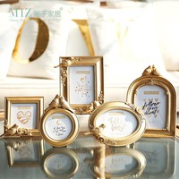 Miz Home 1 Piece Gold Photo Frame Round Oval Square Shape Picture Frame Elegant Bird Decor Royal Style Home Decoration