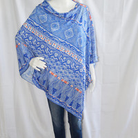 Tribal Poncho/ Nursing Cover/ Lightweight Shawl/ Off the Shoulder, One Shoulder Edgy Boho Top/ Red white and blue Oversized Poncho