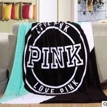 130x150cm Victoria's Secret Pink Flannel Plaid Sofa Covers Fleece Plaid Throw Couverture Polaire Mantas Para Cama