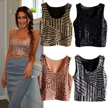 Sexy Sequins Splicing Vest Tops Crop Top Party Clubwear T-shirt Tee  F_F = 1902465220