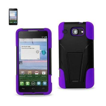 REIKO ALCATEL ONE TOUCH SONIC LTE HYBRID HEAVY DUTY CASE WITH KICKSTAND IN PURPLE BLACK