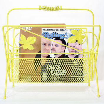 Vintage Metal Yellow Magazine Rack