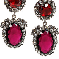 Kenneth Jay Lane | Gunmetal-tone crystal clip earrings  | NET-A-PORTER.COM