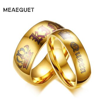Trendy Meaeguet Couple Wedding Ring Queen and King Gold-color Stainless Steel Personalized Engagement Jewelry AT_94_13