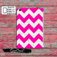 Pink and White Chevron Pattern Cute Painted Wood Grain Cool Vintage Retro Tumblr Custom iPad Mini, iPad 2/3/4 and iPad Air Case Cover