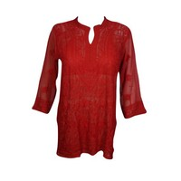 Mogul Womens Beautiful Bright Red Floral Hand Embroidered Tunic Blouse Long Sleeves Georgette Sheer Kurti Cover Up Top Dress XS - Walmart.com