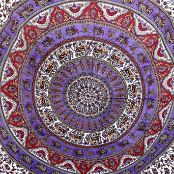 Hippie Boho Wall Tapestries, Psychedelic Star Mandala Tapestry Wall Hanging, Indian Bedspread Bohemian Room Décor, Dorm Bedding Tapestry Art