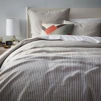 Striped Belgian Linen Duvet Cover + Shams