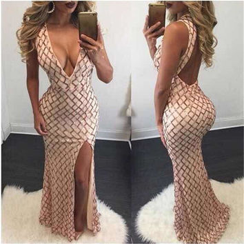 2016 Happy New Year Party Night Formal Mermaid Dress Deep V neck Sexy Bandage Bodycon Dresses Women Backless Club Wear Plus Size