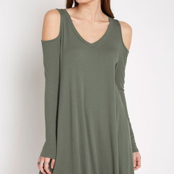 Casulty Cold Shoulder Swing Dress