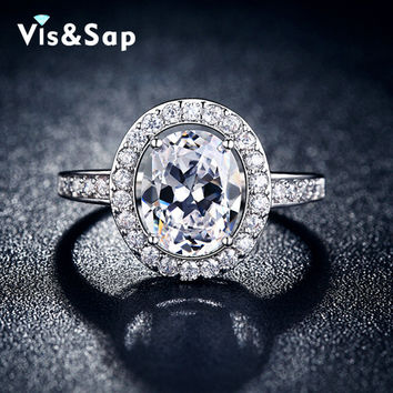 Oval Ring white gold plated 2 Carat AAA cz diamond Wedding Rings For Women AAA zirconia engagement gifts fashion Jewelry VSR102