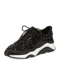 Ash Muse Beaded Lace-Up Sneaker, Black