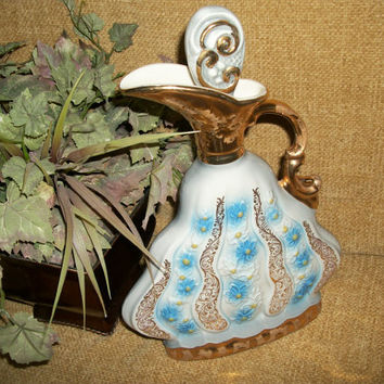 Ornate Bar Ware Whiskey DecanterJames Jim Beam LIquor Bottle Urn Ewer Pitcher by Regal China Gold Embellished Blue Floral Design