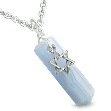 Amulet King of Solomon Star of David Crystal Point Charm Blue Lace Agate Spiritual Pendant Necklace