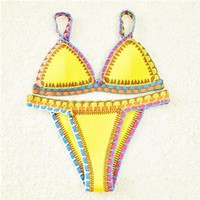 Sunshine Yellow Neoprene Crochet Bikini Swimsuit