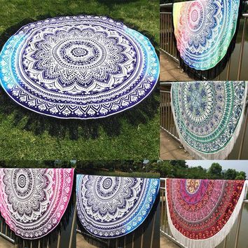 2016 New Indian Round Mandala Tapestry Wall Hanging Throw Towel Boho Yoga Mat Decor Sun Bath Shawl  Home Decor