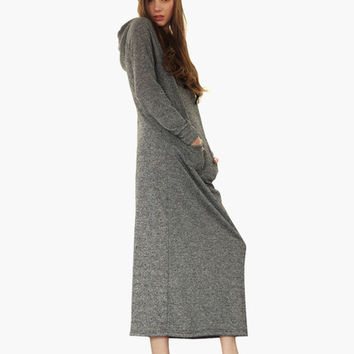 Gray Long Sleeve Hooded Knitted Maxi Dress with Pocket