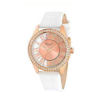 Kenneth Cole Women's Newness KC2728 White Calf Skin Quartz Watch Rose Gold Dial