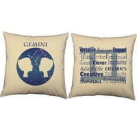Gemini Zodiac Throw Pillows