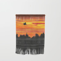 Sunset sky with bird Wall Hanging by savousepate