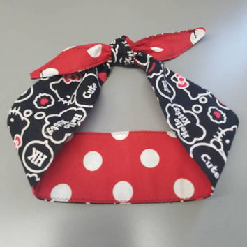 Hello - kitty - sanrio - polka - dot - Pin - up - rockabilly  - Retro  - vintage  - Rosie - riveter  -  hair tie