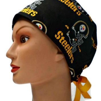 Women's Pixie Surgical Scrub Hat Cap in Pittsburgh Steelers Black