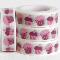 Pink Cupcake Washi, Baked Goods, Bakery Food Decorative Paper Tape for Packaging, 15mm