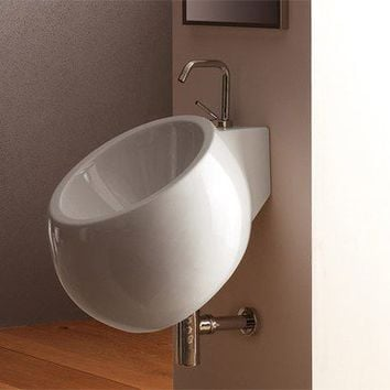 Scarabeo by Nameeks Planet 45 Wall Mounted Bathroom Sink in White | AllModern