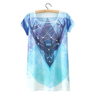 Diamond Deer Print T Shirt