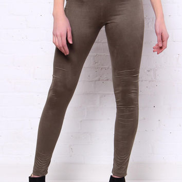 Up The Ante Suede Leggings - Olive