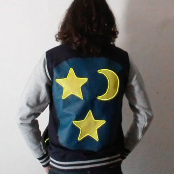 electric light up stars and moon varsity jacket size M