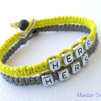 Bracelets for LGBT Couples, Hers and Hers, Yellow and Grey Handmade Hemp Jewelry