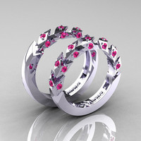 Modern Italian 14K White Gold Pink Sapphire Wedding Band Set R320BS-14KWGPS